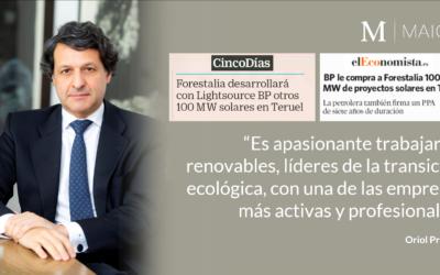 BP le compra 100 MW en proyectos fotovoltaicos a Forestalia