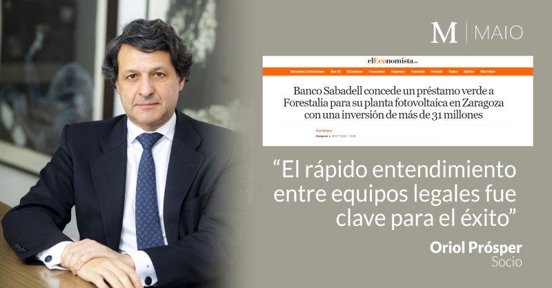 MAIO Legal asesora a Forestalia en la financiación para la construcción de una planta fotovoltaica de 48,7 MW en Zaragoza