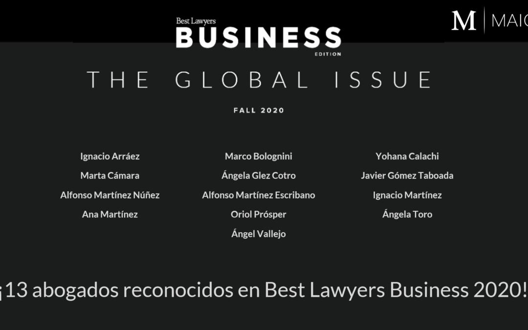13 abogados de MAIO reconocidos en 2020 Global Business Edition de Best Lawyers