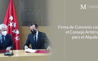 MAIO Legal firma convenio con el Consejo Arbitral para el Alquiler